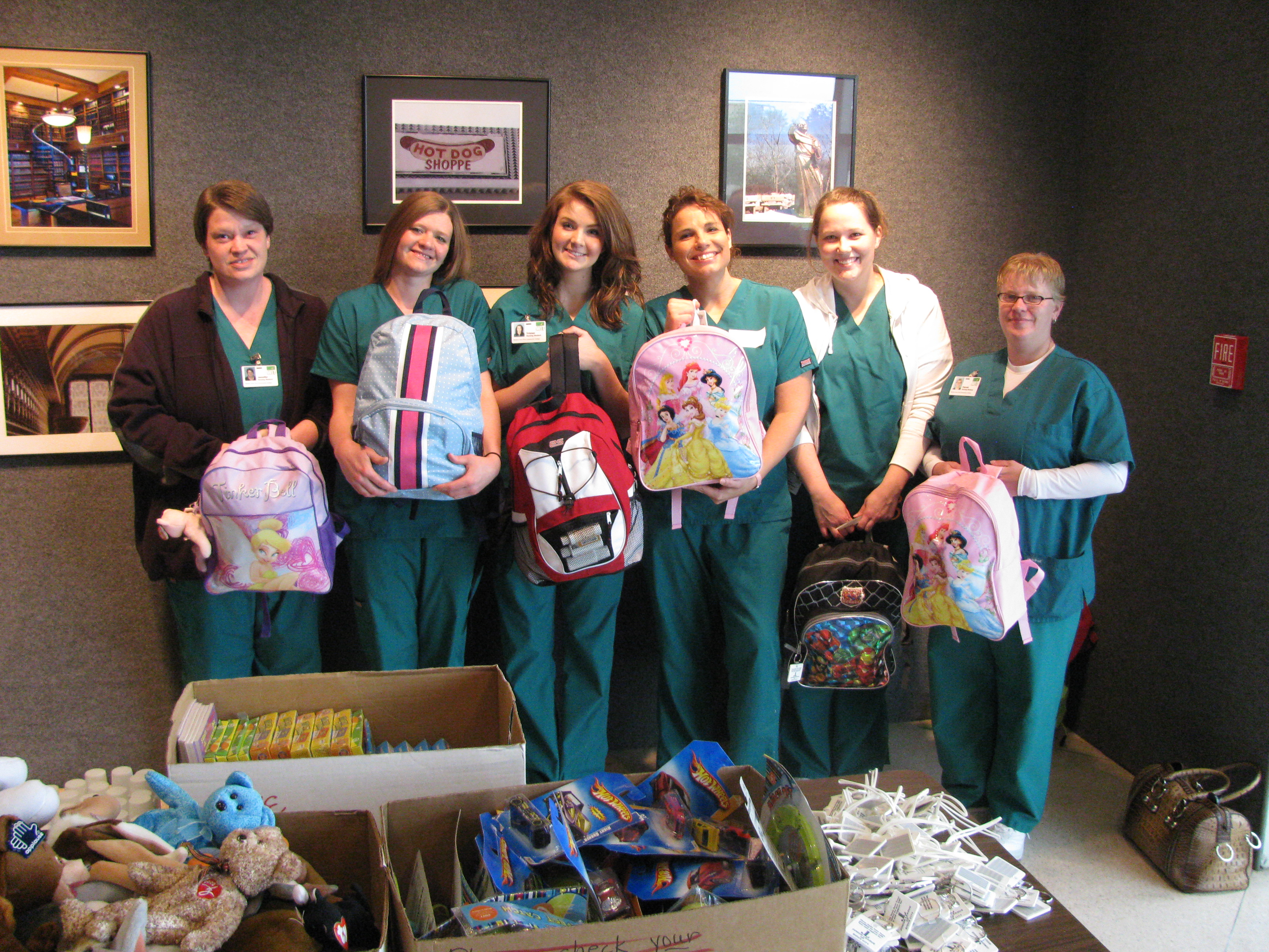 Backpacks filled with toys, comfort items